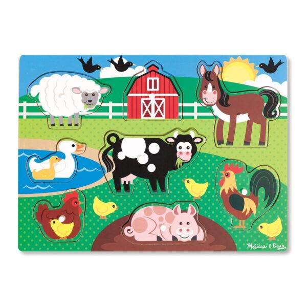 Melissa and Doug Wooden Peg Puzzle Farm-0