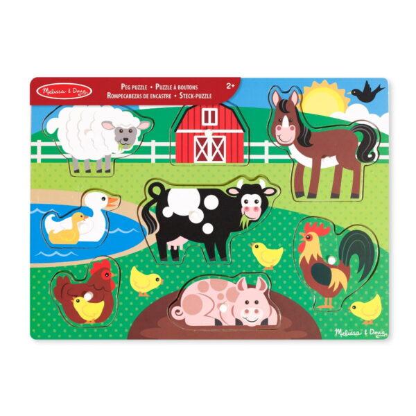 Melissa and Doug Wooden Peg Puzzle Farm-4834
