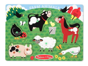 Melissa and Doug Farm Animals Lrg Peg Puzzle-0