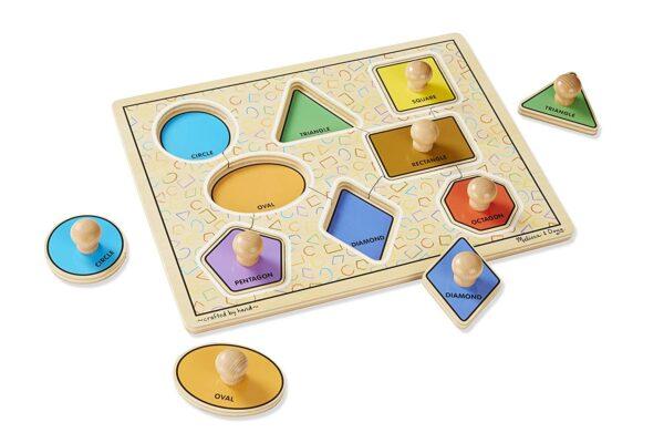 Melissa and Doug Geometric Shapes Peg Puzzle-4502