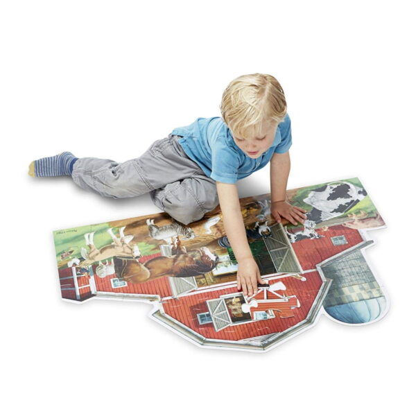 Melissa and Doug Busy Barn Shaped Floor Puzzle-4476
