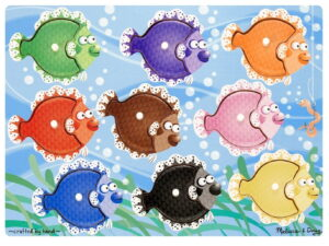 Melissa and Doug Wooden Peg Puzzle Fish Colorful