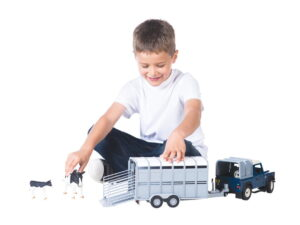 Tomy Toy Cattle Trailer With Cow-0