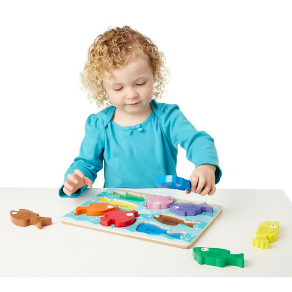 Melissa and Doug Wooden Peg Puzzle Fish Colorful-4855