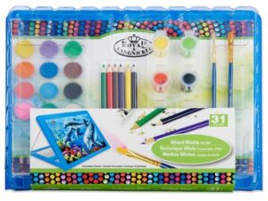 31 Pieces Mixed Media Art Set With Easel Blue