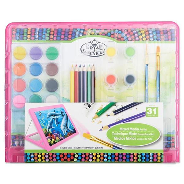 31 Pieces Mixed Media Art Set With Easel Pink