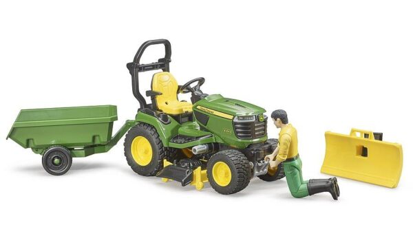 Bruder John Deere Ride On Mower With Trailer And Man