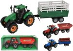 Plastic Friction Tractors With Trailers (6 assorted)