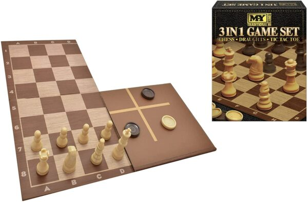 3 In 1 Chess/Checkers & Tic Tac Toe Game Set