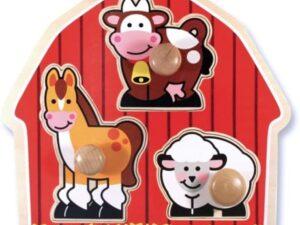 Melissa & Doug Barnyard Animals Jumbo Knob Wooden Puzzle 12054