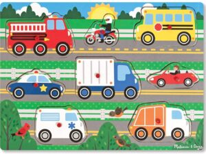 Melissa and Doug Wooden Peg Puzzle-Vehicles