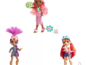 Cave Club Cavetastic Sleepover dolls are making history at the first slumber party ever, and you're invited! These besties spark epic storytelling adventures with neon-bright hairstyles, animal-print slumber party looks and rockin' accessories. Each Cave Club doll features a pajama set and matching eye mask, plus three themed accessories that set the scene for the ultimate slumber party. Kids ages 4 years old and up can play out adventures with their favorite Cavetastic Sleepover doll or collect them all to make history with the whole crew! Each sold separately, subject to availability. Dolls cannot stand alone