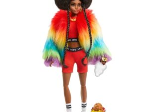 Barbie Extra Doll in Rainbow Coat with Pet Dog Toy