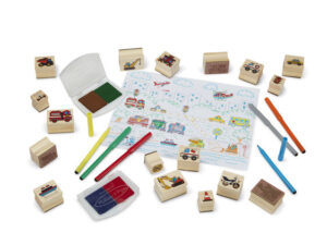 Melissa and Doug Deluxe Wooden Stamp Set – Vehicles