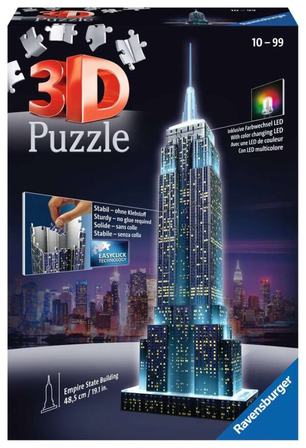 Ravensburger Empire State Building Night Edition 216 piece 3D Jigsaw Puzzle with LED lighting for Adults & for Kids – 12566