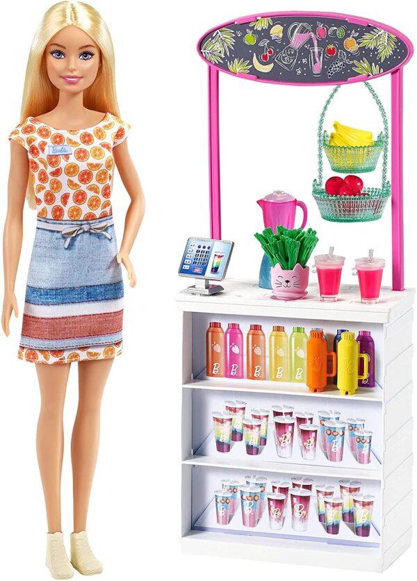 Barbie Smoothie Bar Playset, Blonde Barbie Doll, Smoothie Bar & 10 Accessories