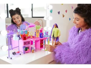 Barbie Extra Doll & Vanity Playset with Exclusive Doll, Pet Puppy, Vanity & 45+ Pieces