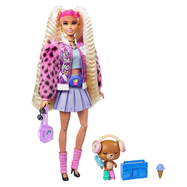 Barbie® Extra Doll #8 in Varsity Jacket with Furry Arms & Pet Teddy Bear – GYJ77