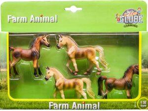 Kids Globe 4 Pack Farm Horses 1:32