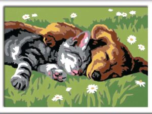 Ravensburger CreArt Sleeping Cats and Dogs Paint By Numbers For Children – Arts and Crafts For Kids Age 7 Years and Up – 28930