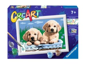 Ravensburger CreArt Cute Puppies Paint By Numbers For Children – Arts and Crafts For Kids Age 7 Years and Up – 28931