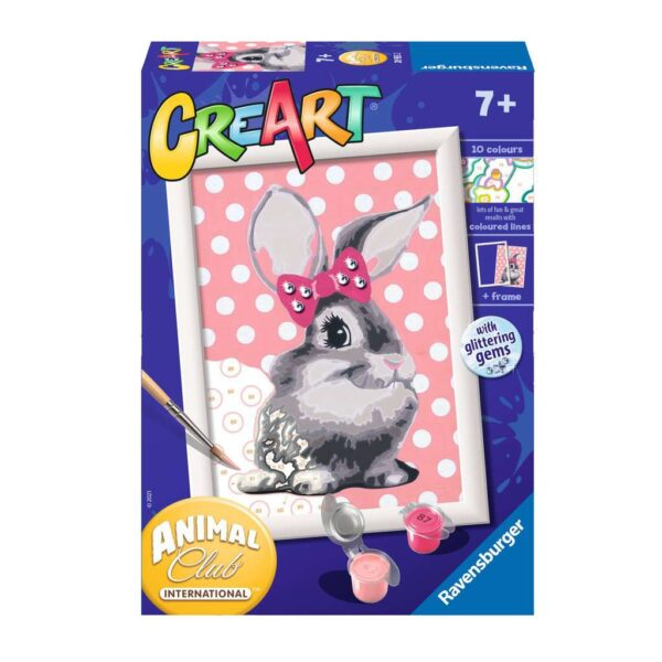 Ravensburger CreArt Cuddly Bunny Paint By Numbers For Children – Painting Arts and Crafts For Kids Age 7 Years and Up – 28933