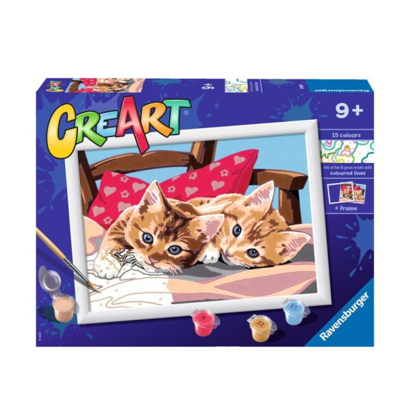 Ravensburger CreArt Two Cuddly Cats Paint By Numbers For Children – Painting Arts and Crafts For Kids Age 9 Years and Up – 28938