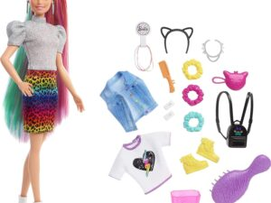 Barbie Leopard Rainbow Hair Doll with Color-change Hair Feature